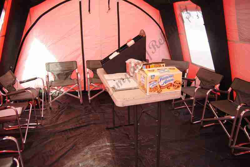 Tent interior set at a balmy 75 degrees