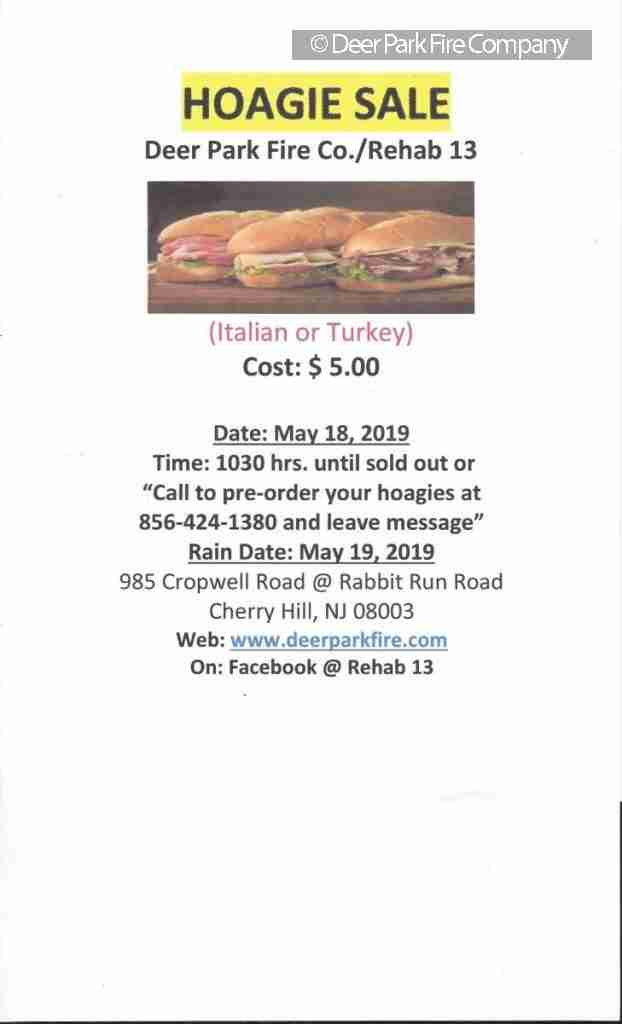 MAY 6, 2019 – REHAB 13'S NEXT FUNDRAISER IS SET FOR MAY 18, 2019 – HOAGIE SALE