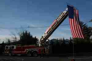 Cherry Hill Fire Dept Ladder 1324 displayed our flag
